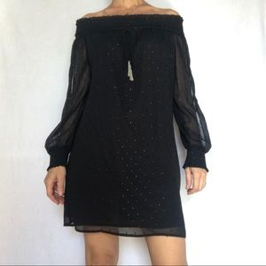 Zara Basic Black Dress XS Women's Long Sleeves